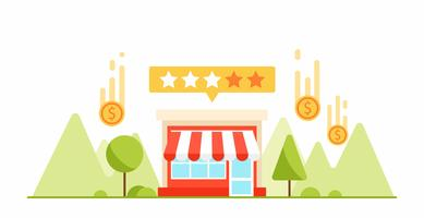 Feedback e testimonianze del tuo piccolo business. Soldi e monete Illustrazione piatta vettoriale