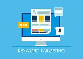 Banner di targeting per parole chiave. Computer con testo e icone. illustrazione piatta