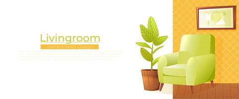 Banner di interior design casa soggiorno. Comoda poltrona con una pianta in una stanza con carta da parati retrò. Illustrazione vettoriale