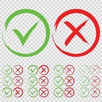 set di segno di spunta verde ok e rosso x vettore