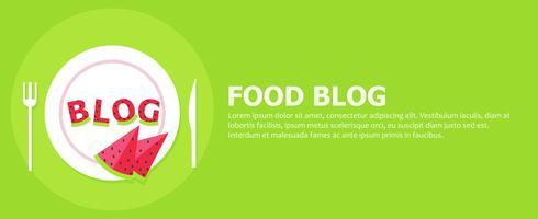 Banner blog alimentare. Piastra con lettere di anguria e la parola Blog. Illustrazione piatta vettoriale