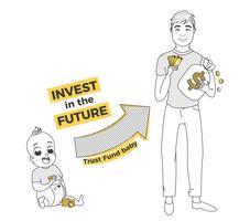 Fondo fiduciario per il bambino. Investi nel futuro tuo figlio. Crescita del capitale per università e imprese. Illustrazione di arte linea vettoriale