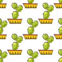 Modello senza cuciture di cactus e succulente in vaso.