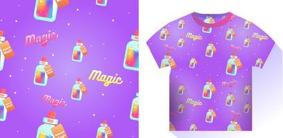 Il mana magico di un modello senza cuciture di unicorno. Liquido arcobaleno con stella nella bottiglia. Illustrazione di cartone animato vettoriale