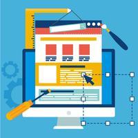 Banner di sviluppo del sito. Computer con strumenti costitutivi. Illustrazione piatta vettoriale