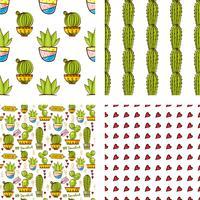 Impostare il modello senza soluzione di continuità di cactus e succulente in vaso. vettore