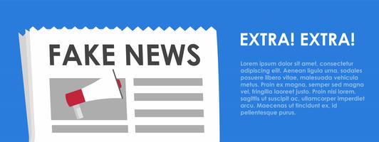 Banner di notizie false. Sfondo blu con giornali e altoparlanti. Illustrazione piatta vettoriale