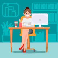 Donna in ufficio al tavolo. Illustrazione piatta vettoriale