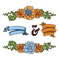 Elemento decorativo floreale di piante grasse