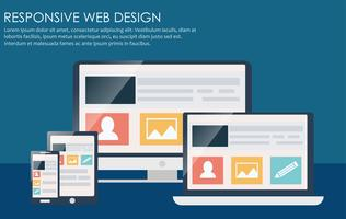 Design web reattivo, inclusi laptop, desktop, tablet e telefoni cellulari. Illustrazione piatta vettoriale