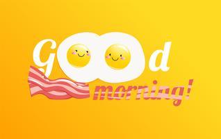 Buongiorno banner. Classica gustosa colazione a base di uova e pancetta. Illustrazione di cartone animato vettoriale