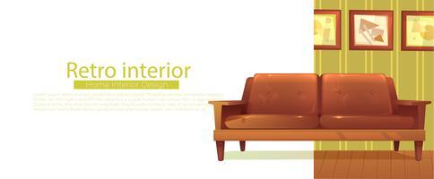 Il tuo nuovo banner di casa. Retro divano e tavolino. Illustrazione di cartone animato vettoriale