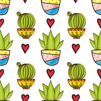 Modello senza cuciture di cactus e succulente in vaso. vettore