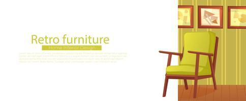 Banner di interior design casa soggiorno. Comoda poltrona con una pianta in una stanza con carta da parati retrò. Illustrazione di cartone animato vettoriale