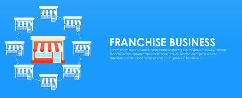 Banner franchising Catena di negozi con un business plan pronto. Illustrazione piatta vettoriale