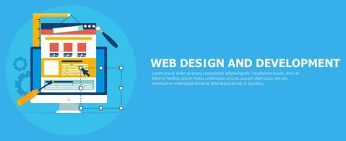 Banner web design e sviluppo. Computer con strumenti e sito del costruttore. Illustrazione piatta vettoriale