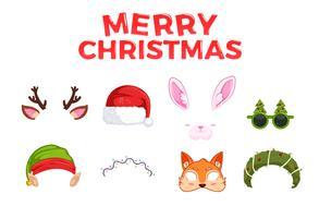 Maschere di Capodanno per le foto. Natale clipart Babbo Natale e Elfo e coniglio e cervo e volpe. Illustrazione di cartone animato vettoriale