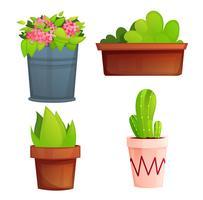 Piante in vaso giardino paesaggio con fiori rosa e cactus. Illustrazione di cartone animato vettoriale