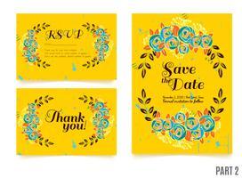 matrimoni, salvare l'invito data, RSVP e biglietti di ringraziamento. vettore