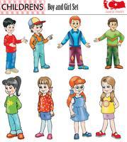 Serie di caratteri della ragazza e del ragazzo, vettore, ENV vettore