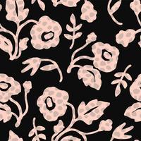 Modello senza cuciture floreale astratto con trame disegnate a mano alla moda.