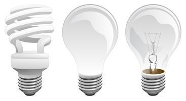 Illustrazione di vettore delle lampadine della luce a incandescenza e del LED