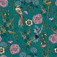 Giardino vittoriano Motivo floreale senza soluzione di continuità. Illustrazione vettoriale