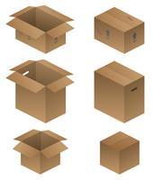 Varie illustrazione di vettore di spedizione, imballaggio e scatole in movimento