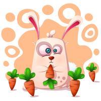 Coniglio carino e divertente con carota. vettore