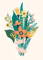 Illustrazione vettoriale bouquet di fiori nelle mani.