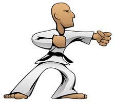 Illustrazione di vettore del fumetto del ragazzo di karatè di arti marziali