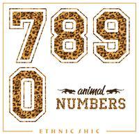 Numeri animali vettoriali per t-shirt, poster, cartoline e altri usi.