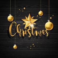 Illustrazione di Natale con le palle di vetro oro su fondo di legno dell'annata