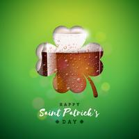 St. Patrick's Day Design con boccale di birra in silhouette trifoglio vettore