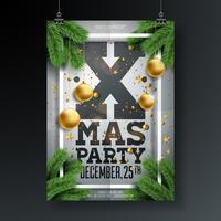 Design di volantino festa di Natale con ornamenti e rami di pino