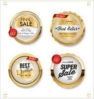 Distintivi ed etichette d'oro di lusso premium vettore