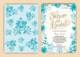 Invito dell'acquazzone nuziale della cornice floreale o carta di nozze