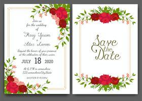 Cornice disegnata a mano floreale per un invito a nozze