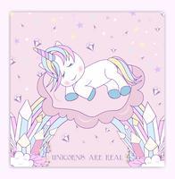 Bello unicorno sulle nuvole con l'illustrazione delle stelle vettore