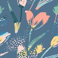 Tulipani senza cuciture floreali astratti del modello Strutture tridimensionali disegnate a mano vettore