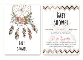 Immagine di vettore di perline di sogno nativi americani disegnati a mano doccia Baby Baby