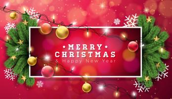Illustrazione di Buon Natale con ghirlanda di luce natalizia