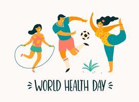 Giornata mondiale della salute. Uno stile di vita sano. Famiglia sportiva vettore