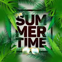 Vector l'illustrazione tipografica di festa dell'ora legale sul fondo delle foglie di palma.