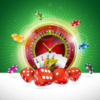 Illustrazione del casinò con la ruota della roulette e chip di gioco vettore