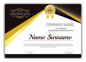 Certificato classico dorato d'annata del modello di risultato