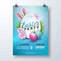 Vector l'illustrazione dell'aletta di filatoio del partito di Pasqua con le uova dipinte, le orecchie di coniglio e gli elementi di tipografia sul fondo del blu della natura. Modello di progettazione del manifesto di celebrazione di vacanza di pri
