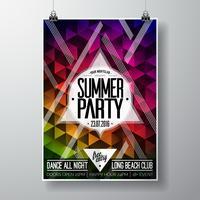 Vector Summer Beach Party Flyer Design con elementi tipografici e copia spazio