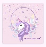 La bella testa e l'iscrizione dell'unicorno sono uniche con l'illustrazione delle stelle vettore
