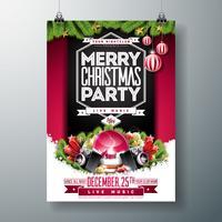 Illustrazione di volantino festa di Natale con ornamenti e ghirlanda vettore